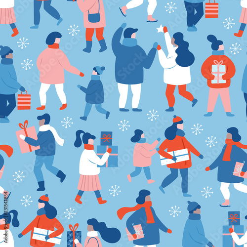 5b4f1efe05d9 Seamless pattern background for Christmas holiday. People dressed in winter  clothes with gift boxes.