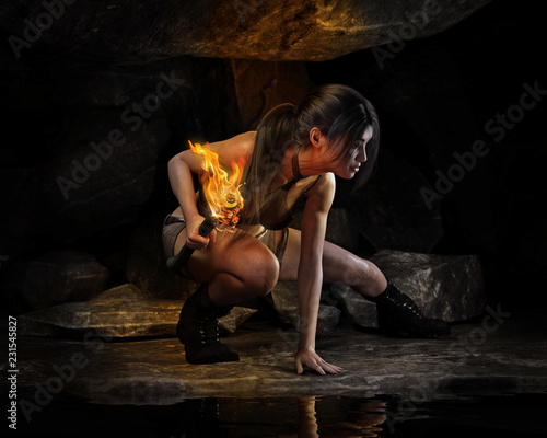 Fotografiet Thrill seeking female exploring alone deep into a forgotten ancient cave in search of adventure and treasure
