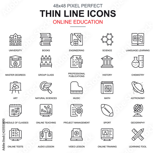 Thin line online education, e-learning, e-book icons set for