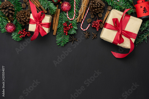 Essential Christmas Decorations.Table Top View Of Merry Christmas Decorations Happy New