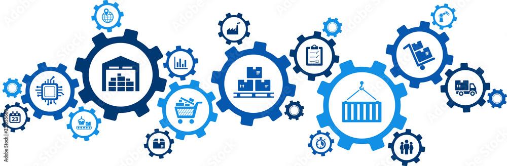 Fototapeta logistics concept: transport, handling, distribution, warehousing, vector illustration