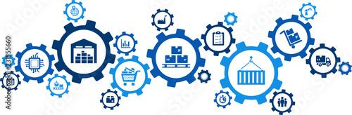 Obraz na płótnie logistics concept: transport, handling, distribution, warehousing, vector illust