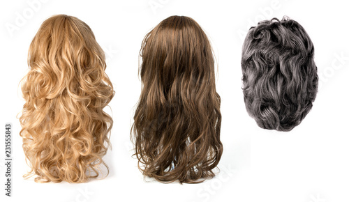wigs isolated on white background Fotobehang