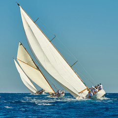 Sailing yacht race. Yachting. Sailing. Regatta. Classic sail yachts