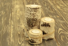 Birch Candlesticks Tied With A...