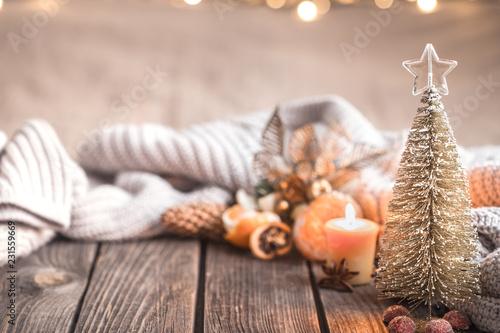 Photo Festive Christmas cozy atmosphere with home decor