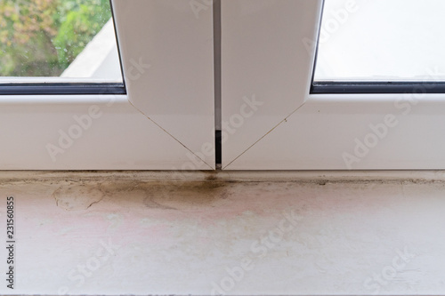 Black Mold On White Window Sill Poor Ventilation Humidity Condensation Is Cause Fungus In Home