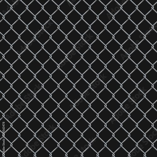 Türaufkleber Künstlich Seamless realistic chain link fence background on black