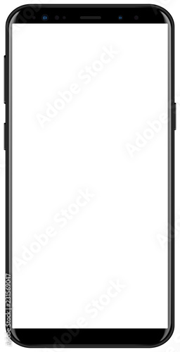 Photo Brand new smartphone black color with white screen mockup
