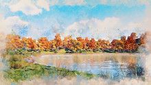Watercolor Sketch Of Beautiful Autumn Landscape With Scenic Colorful Trees On The Shore Of Forest Lake Or Pond At Sunny Autumnal Day. Decorative Digital Art Illustration.