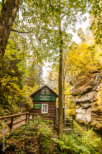 Photo  Hut in  Hrensko national Park, situated in Bohemian Switzerland, Czech Republic