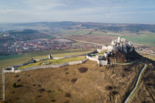 Fotobehang Luchtfoto Aerial vier of Spis castle - one of the biggest European castles located in Slovakia