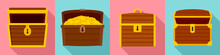 Dower Chest Icon Set. Flat Set...