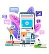 Abstract website template design. Modern flat design. People browsing Internet on smartphone. Vector illustration on white background. Mobile app design, banner concept