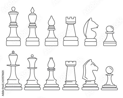 Canvas Print Chess piece icon set