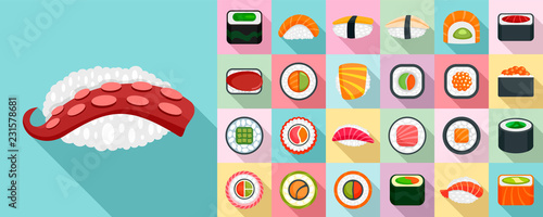 Obraz Sushi roll icon set. Flat set of sushi roll vector icons for web design - fototapety do salonu