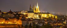Prague Castle Panorama By Night, Prague, Czech Republic