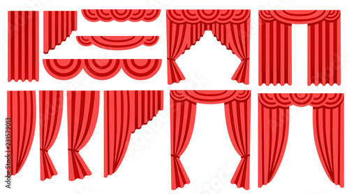 Fotomural  Collection of luxury red silk curtains and draperies