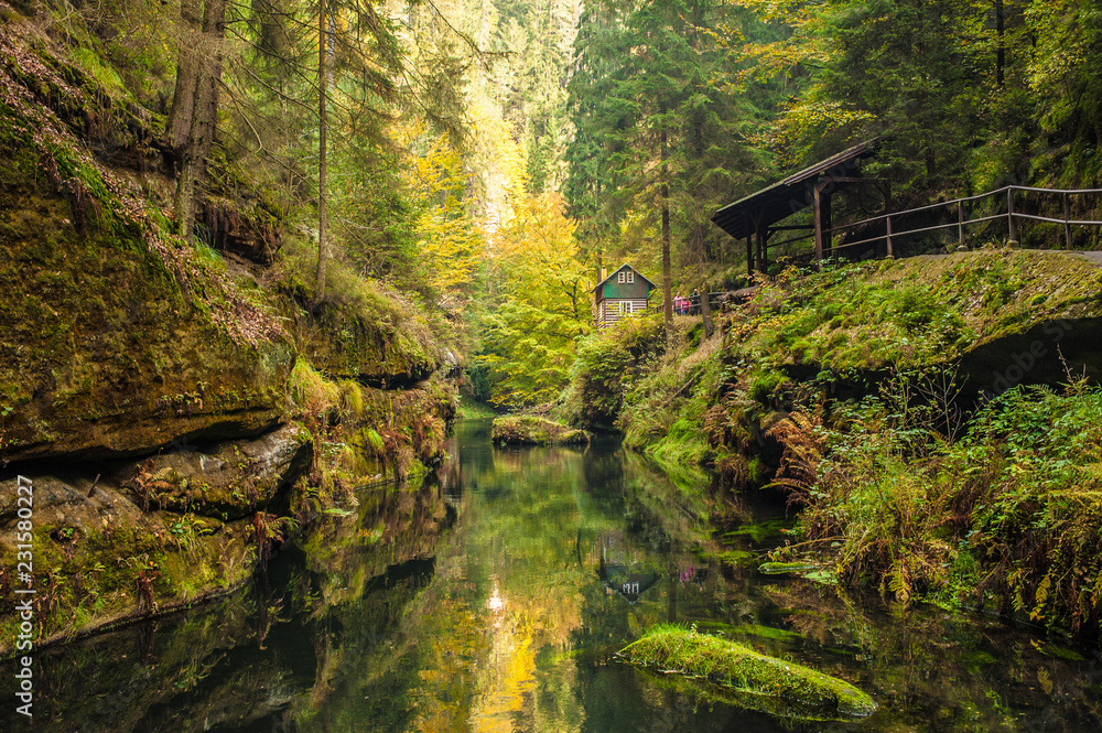 Photo  Picturesque view of Hrensko national Park, situated in Bohemian Switzerland, Cze