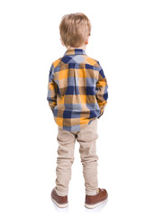 Fototapeta Rear view of little boy with hands in his pockets, isolated on white background