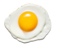 Top View Of Fried Egg Isolated...