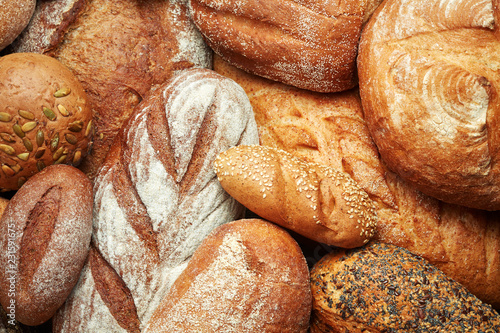 Poster Brood assortment of fresh baked bread