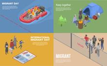Migrant Refugee Banner Set. Is...
