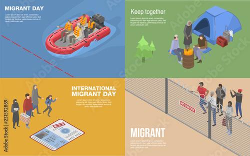 Valokuva Migrant refugee banner set