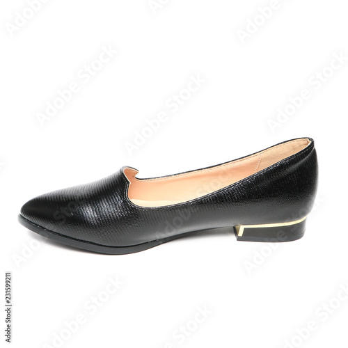 6e3d68de3 Women's flat photo black shoes isolated on white background - Buy ...
