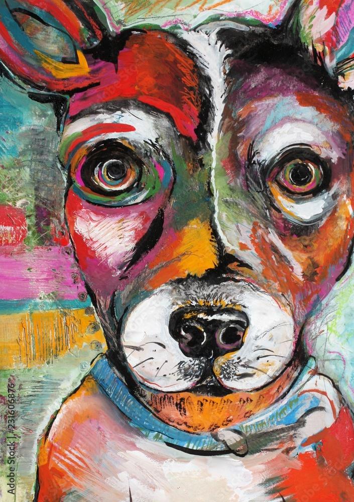 Fototapeta Original Dog Painting Illustration of a Rat Terrier