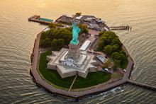 New York Statue Of Liberty From Aerial View
