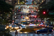 42nd Street Is Crowded With The Busy Night Lights Of Crosstown Traffic Through Midtown Manhattan In New York City
