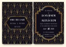 An Art Deco Wedding Card With ...