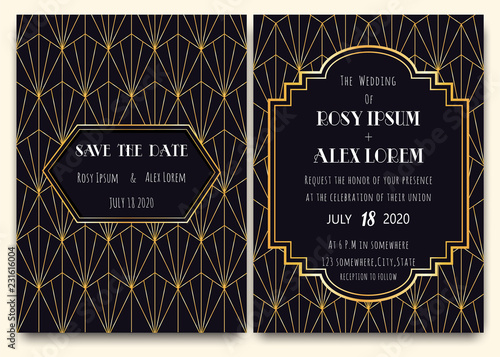 Photographie  An Art Deco Wedding Card with a Gold-patterned Background.