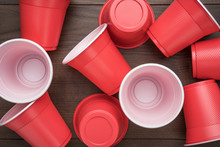 Disposable Plastic Cups On The...