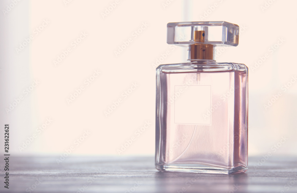 Fototapety, obrazy: Image of elegant perfume bottle. back light photo. vintage filtered image.