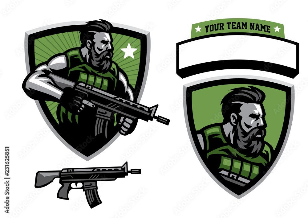 Fototapeta bearded soldier mascot hold assault rifle