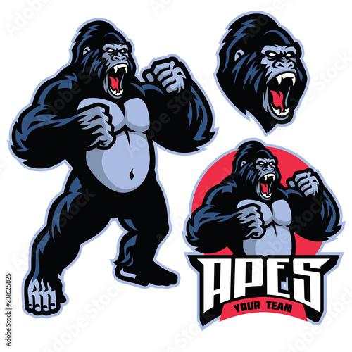Naklejka premium wściekły goryl stojący maskotka