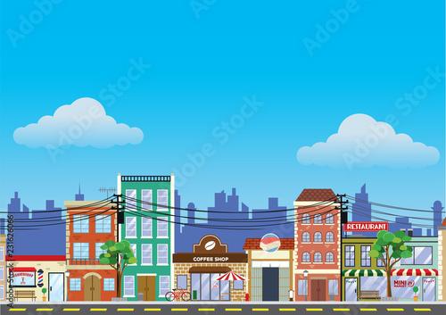 Fotografía old building and shopping street market