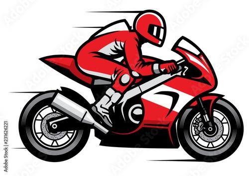 Fotografie, Obraz sport motorbike racer riding fast