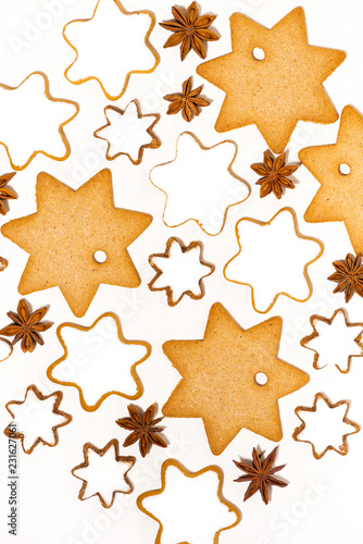 assortment of Christmas cookies stars, vertical