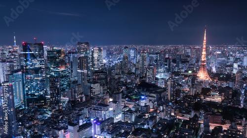 Deurstickers Tokio 東京都心夜景
