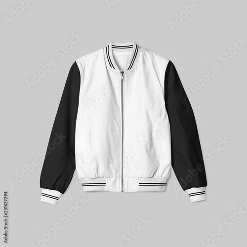 Blank Jacket Bomber Baseball With White Black Color On Grey