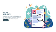 Job Hiring And Online Recruitment Concept With Tiny People Character. Agency Interview. Select A Resume Process. Template For Web Landing Page, Banner, Presentation, Social Media. Vector Illustration.