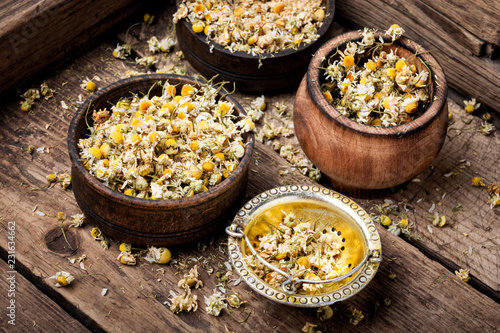 Photo  Dried chamomile flowers