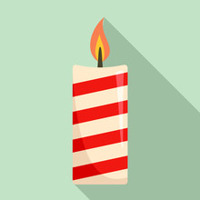 Christmas Candle Icon. Flat Il...