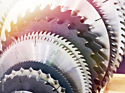 Leinwand Poster Circular saw machine blades for wood in store