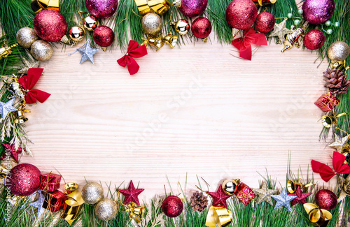 Foto op Plexiglas Tulp Christmas ornaments and decorations for frame
