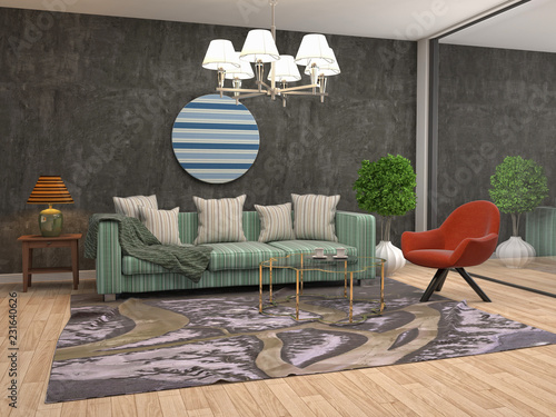 Stickers pour porte Pierre, Sable Interior of the living room. 3D illustration