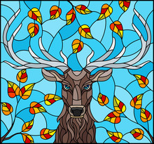 Illustration In Stained Glass Style With Deer Head,on The Background Of Autumn Tree Branches And The Sky, A Rectangular Image